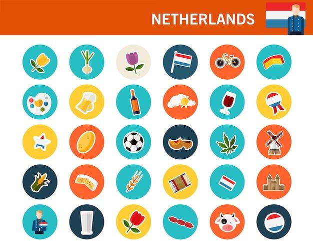 Netherlands concept flat icons Premium Vector