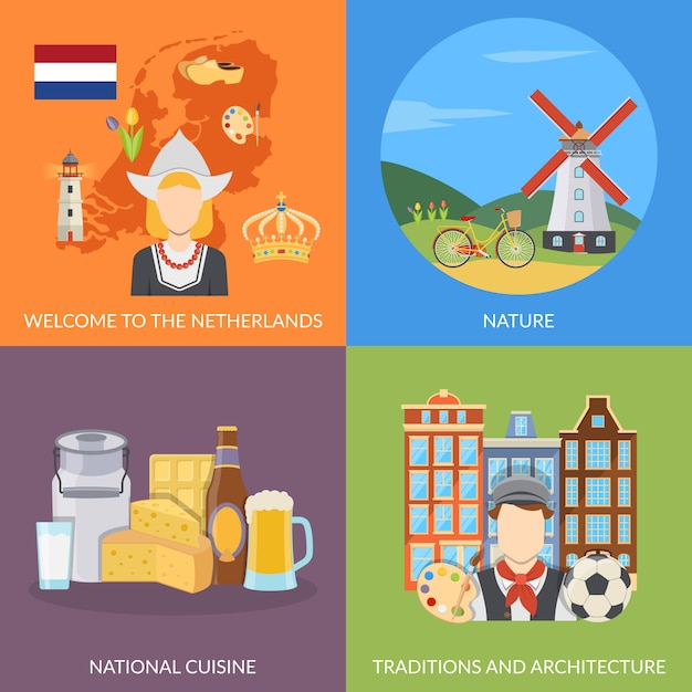 Netherlands flat elements and characters set Free Vector