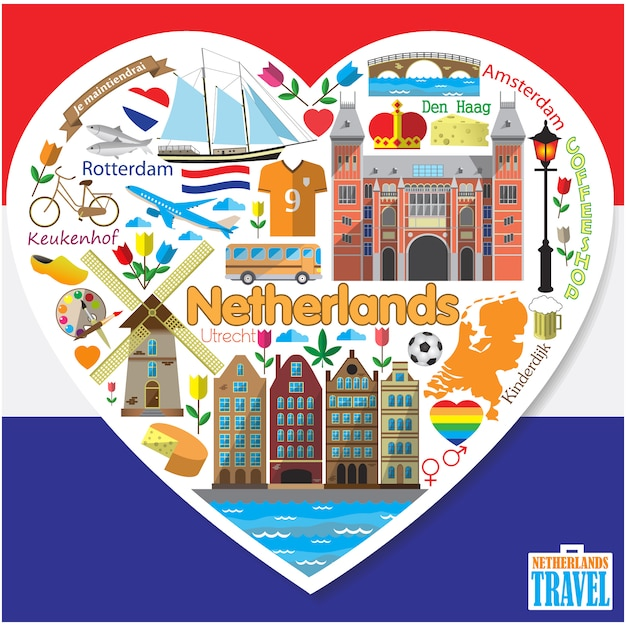 Netherlands love.set colored flaticons and symbols in form of heart Premium Vector