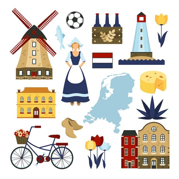 Netherlands symbols set Free Vector