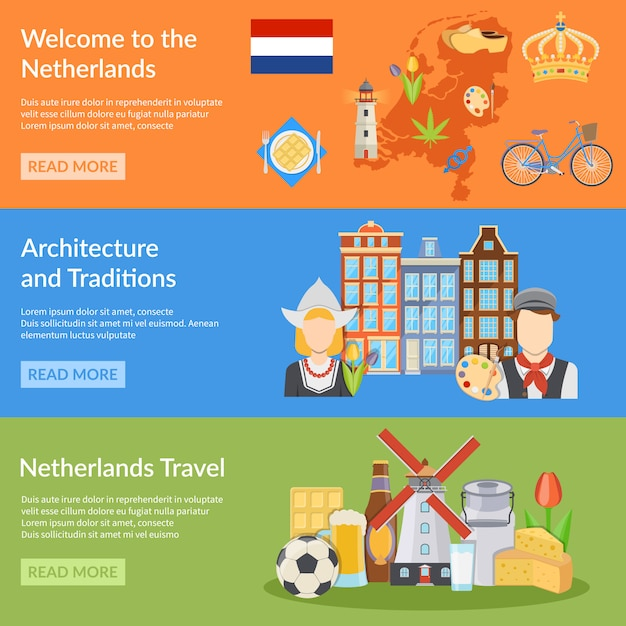 Netherlands travel flat banners Free Vector