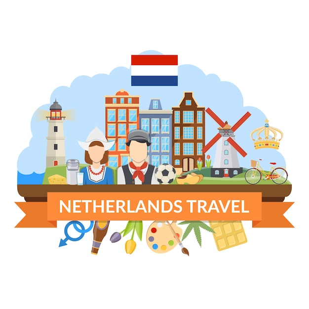 Netherlands travel flat composition Free Vector