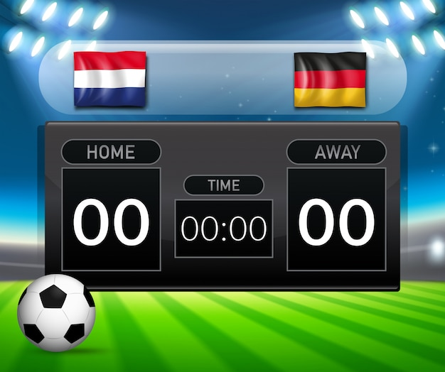 Netherlands vs germany soccer scoreboard template Free Vector