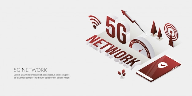Network connection, the ultra high speed internet technology with 3d text Premium Vector