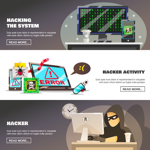 Network fraud banners set Free Vector