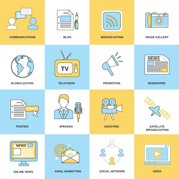 Network icons collection Free Vector