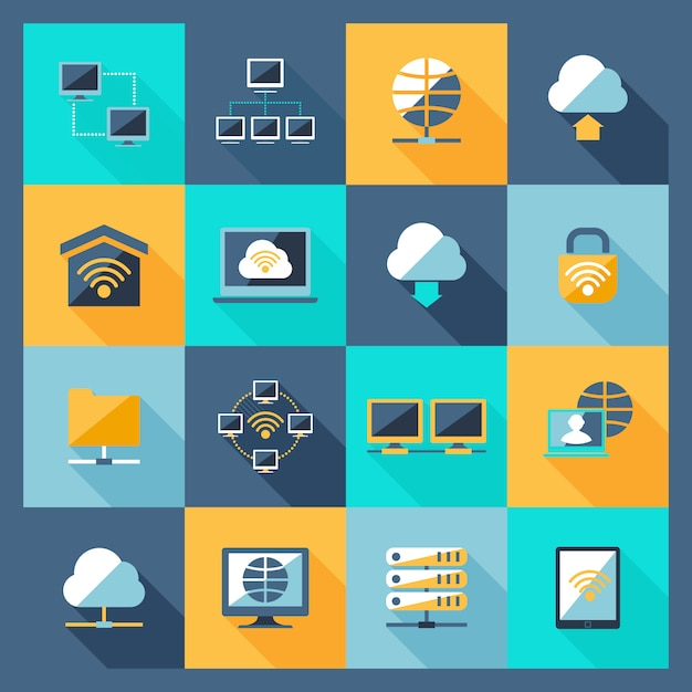 Network icons flat Free Vector