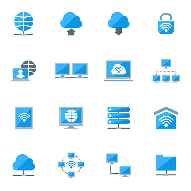 Network icons set Free Vector