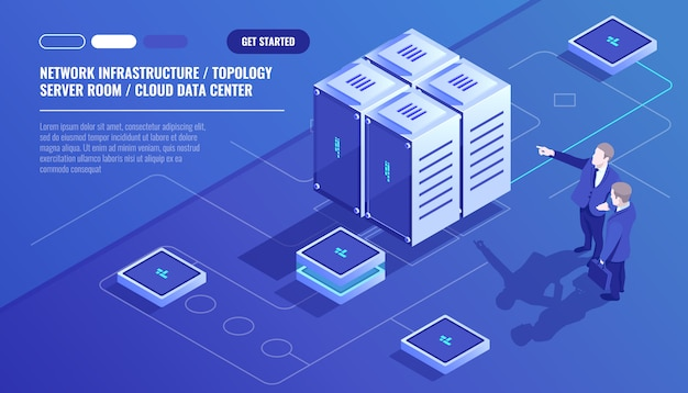 Network infrastructure, server room topology, cloud data center, two businessman Free Vector