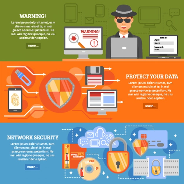 Network security banners Free Vector