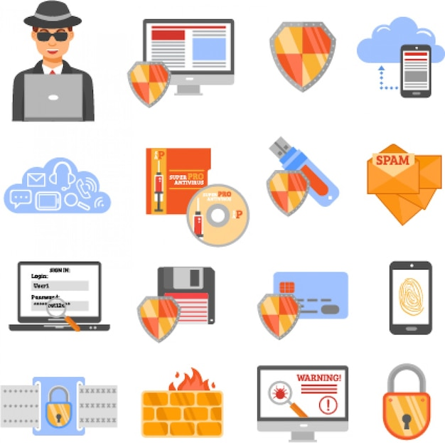 Network security color icons Free Vector