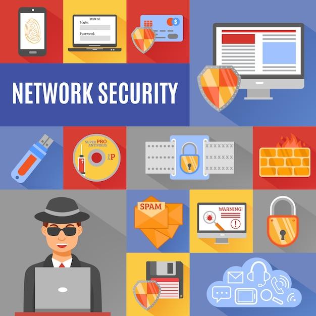 Элементы и символ сетевой безопасности Бесплатные векторы
