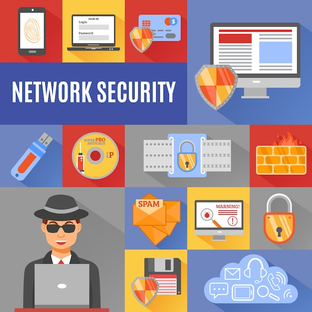 Network security elements and character Free Vector