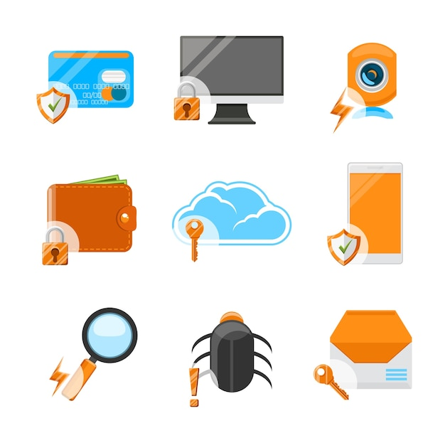 Network security flat icon set. computer technology, web data protection, payment and mail Free Vector