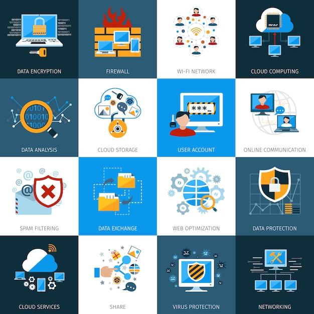 Network security icons set Free Vector
