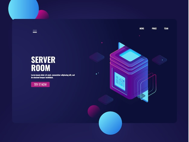 Network server room and datacenter isometric, cloud data storage, processing big data Free Vector