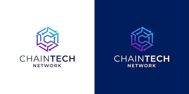 Network technology blockchain with initial c logo design inspiration Premium Vector