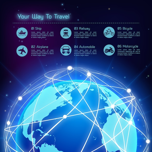 Network travel background Premium Vector
