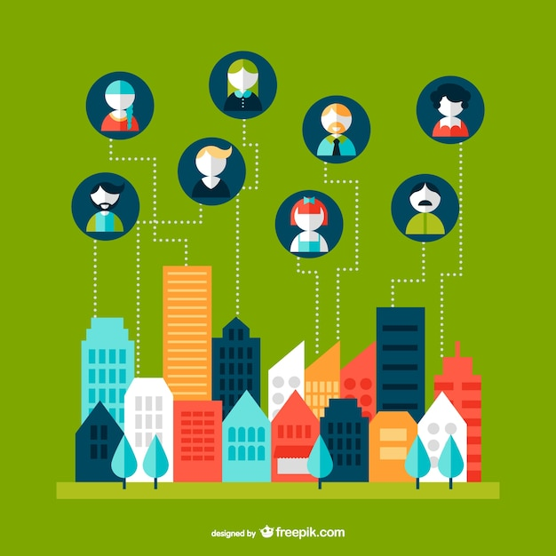 Networking cityscape infographic Free Vector