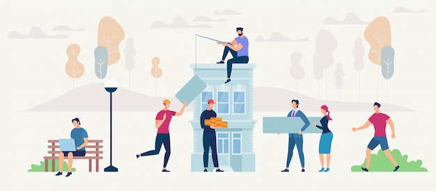 Networking people and new house concept. Premium Vector