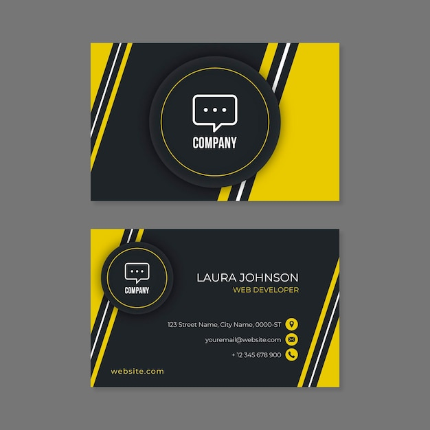 Neumorph abstract business card template Free Vector