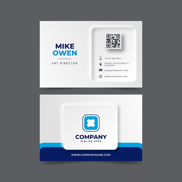 Neumorph business card template Free Vector