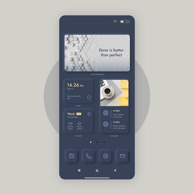 스마트 폰용 neumorph 홈 화면 템플릿 무료 벡터