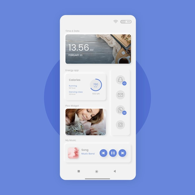 Neumorph home screen template for smartphone Free Vector