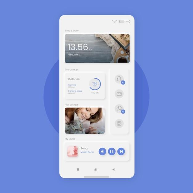 Modello di schermata iniziale neumorph per smartphone Vettore gratuito