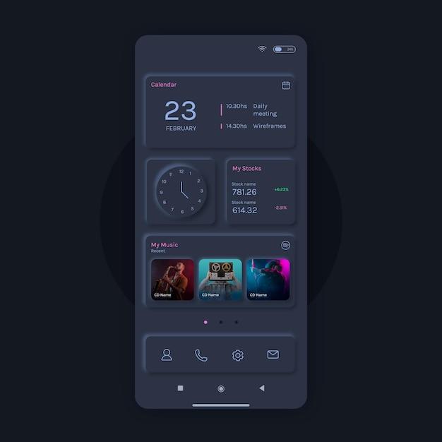 Шаблон домашнего экрана neumorph Premium векторы