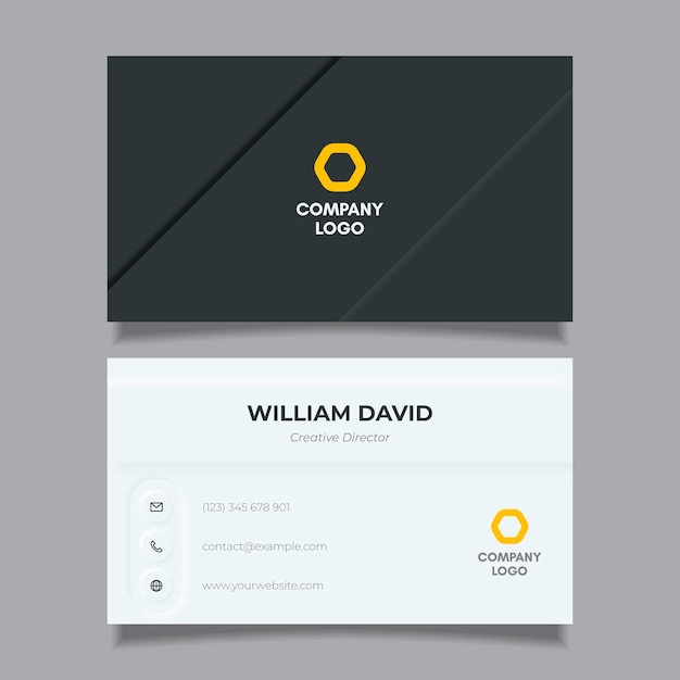 Neumorph style business card template Free Vector