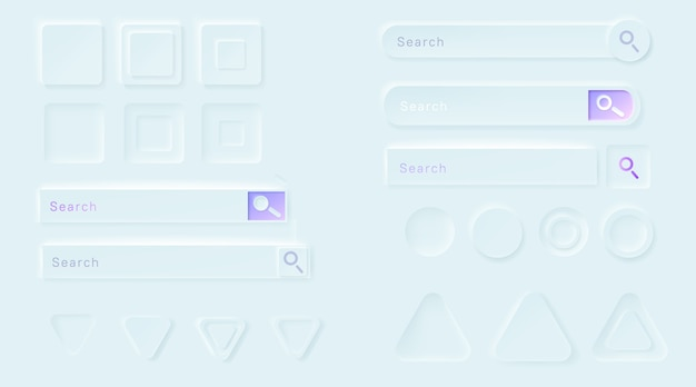 Neumorphic buttons for ui app. Free Vector