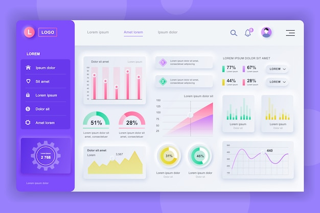 Neumorphic dashboard ui kit. шаблон панели администратора с элементами инфографики, диаграммы hud, инфо графики. панель инструментов веб-сайта для ui и ux design web page. стиль нейморфизма. Premium векторы