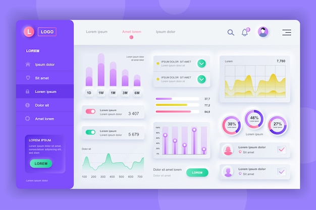 Neumorphic dashboard ui kit. шаблон панели администратора с элементами инфографики, диаграммы hud, инфо графики. панель инструментов веб-сайта для ui и ux design web page. стиль нейморфизма. Premium векторы