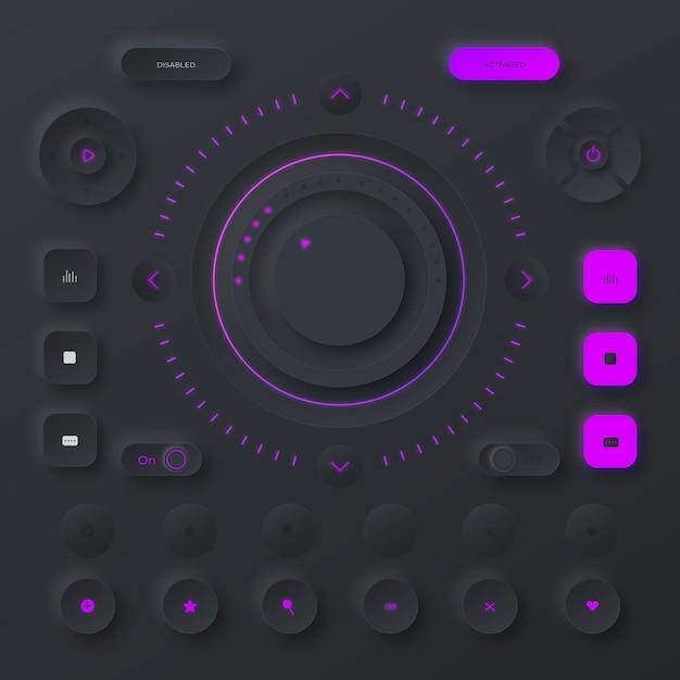 뉴 모픽 디자인 사용자 인터페이스 요소 무료 벡터