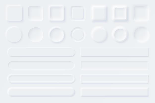 Neumorphic Ui Ux 흰색 사용자 인터페이스 요소. 웹 사이트, 모바일 메뉴, 내비게이션 및 앱용 슬라이더입니다. 흰색 웹 버튼 및 Ui 슬라이더. Neumorphism 스타일 프리미엄 벡터