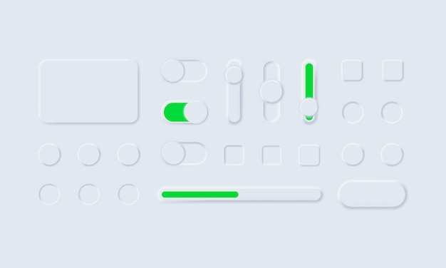 Neumorphic Ui Ux 흰색 사용자 인터페이스 웹 버튼 및 Ui 슬라이더 프리미엄 벡터