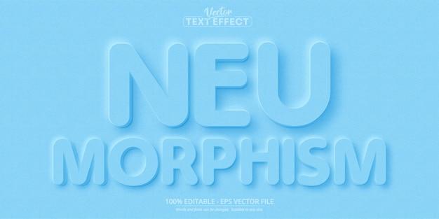 ニューモルフィズムテキスト、新しいデザイントレンドスタイルの編集可能なテキスト効果 Premiumベクター