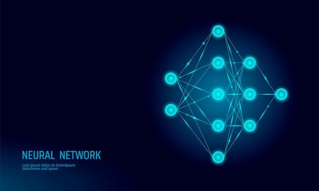 Neural net, neuron network background Premium Vector