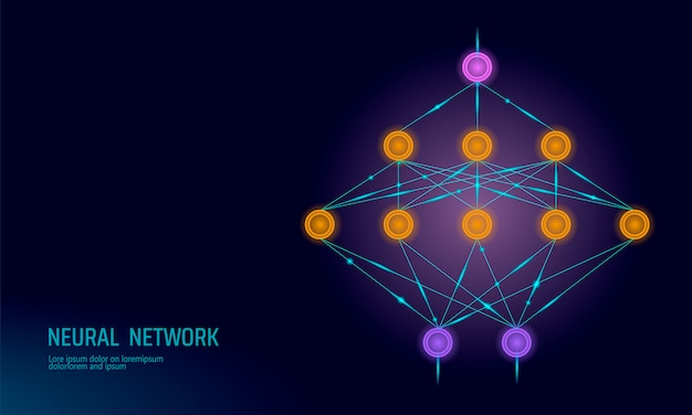 Neural net, neuron network, deep learning Premium Vector
