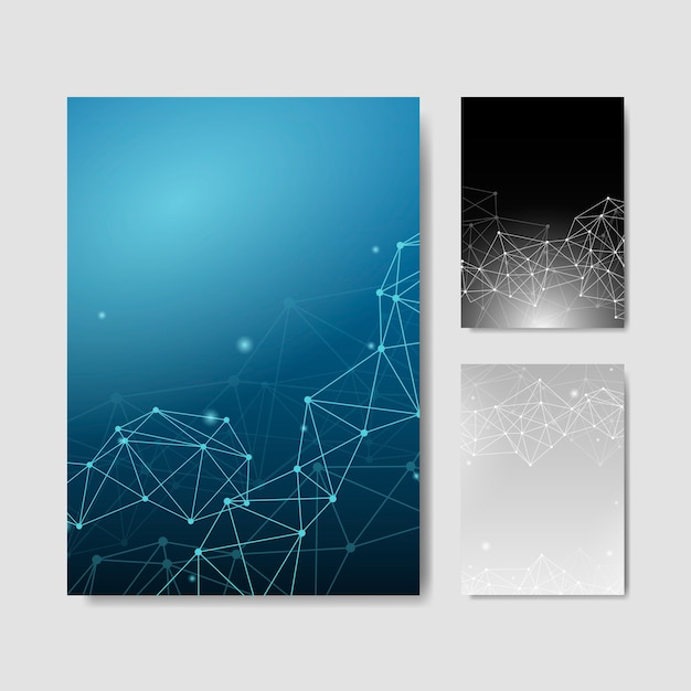 Neural network illustration collection Free Vector
