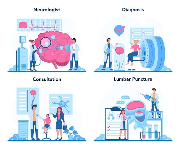 Набор концепций невролога. доктор исследует человеческий мозг. идея врача, заботящегося о здоровье пациента. Premium векторы