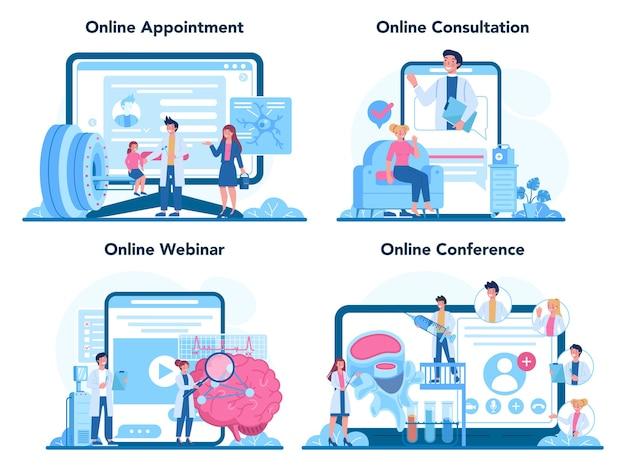 Набор онлайн-сервисов или платформ невролога. Premium векторы