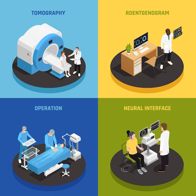 Neurology concept icons set with neural interface symbols isometric isolated Free Vector