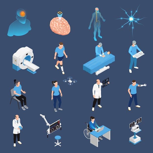 Neurology and neural surgery icons set isometric isolated Free Vector