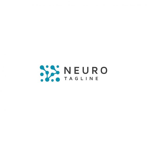 Нейрон логотип с слоганом Premium векторы