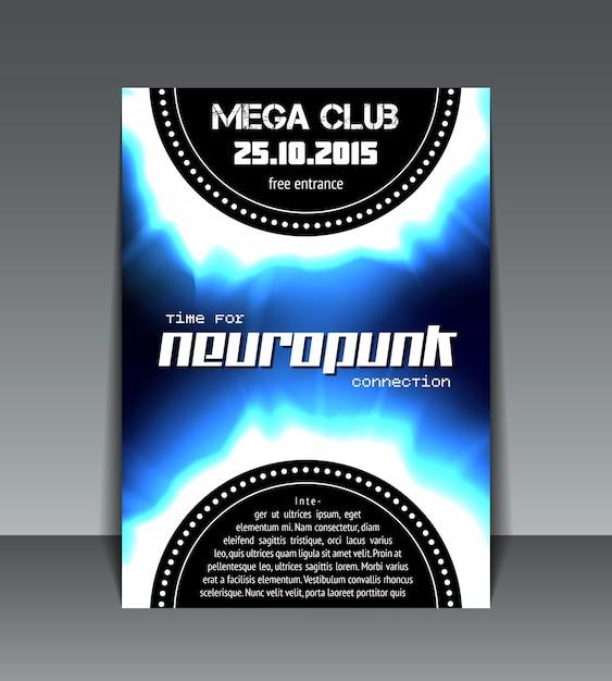 Neuropunk party flyer Free Vector