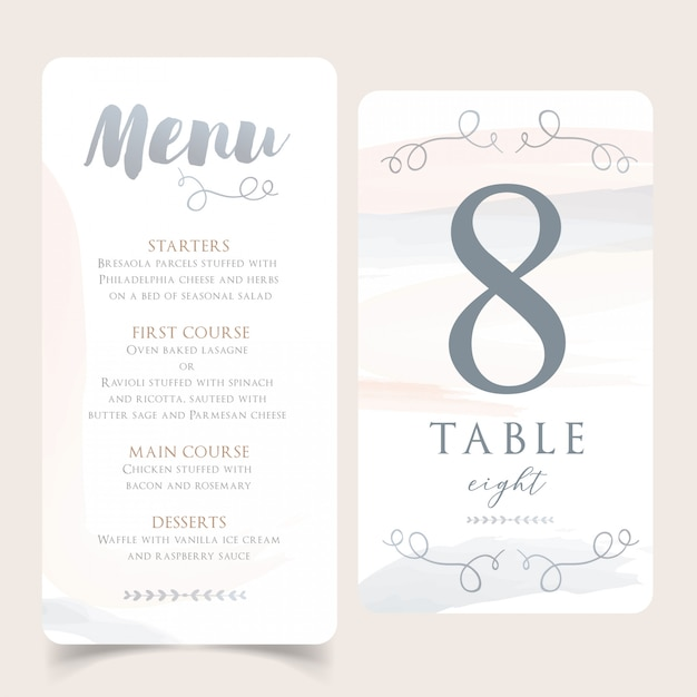 Neutral watercolor wedding menu with table number card Premium Vector