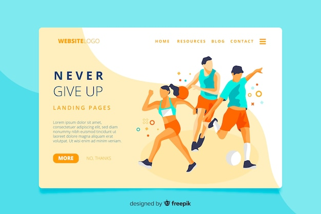Never give up sport landing page Free Vector