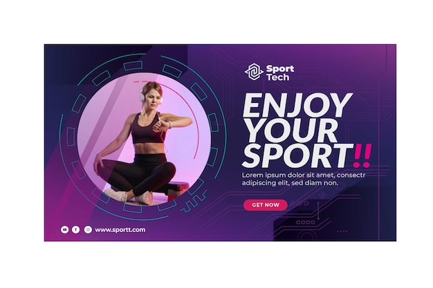 Never give up sport template banner Free Vector